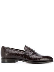 Tagliatore Crocodile Print Loafers Brown