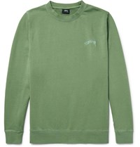 Stussy Embroidered Loopback Cotton Jersey Sweatshirt Green