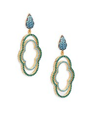 Azaara Crystal And Sterling Silver Drop Earrings Yellow Gold