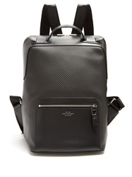 Smythson Greenwich Woven Leather Backpack Black