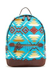Pendleton Printed Genuine Leather Backpack Blue