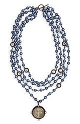 Virgins Saints And Angels San Benito Magdalena Necklace Dark Blue Pearl Clear