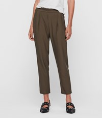 Allsaints Aleida Tapered Mid Rise Trousers Khaki Green