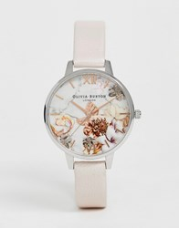 Olivia Burton Ob16cs21 Marble Florals Leather Demi Watch Pink