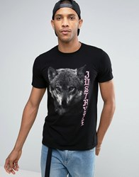 Hype T Shirt With Wolf Print Black