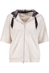 Brunello Cucinelli Silk Organza Paneled Cashmere And Cotton Blend Hooded Sweatshirt Off White