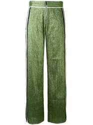 Aviu Side Stripe Lurex Trousers Women Cotton Polyamide Polyester Spandex Elastane 46 Green