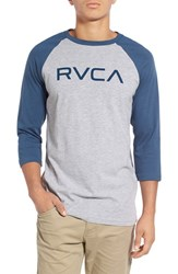 Men's 'Big Rvca' Graphic Three Quarter Baseball T Shirt Dark Denim