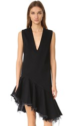 Marques Almeida Denim Sleeveless V Neck Dress Black