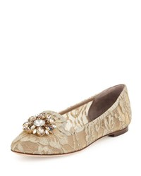 Dolce And Gabbana Crystal Embellished Lace Loafer Light Gray Light Grey