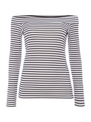 Pied A Terre Stripe Jersey Bardot Top Black White