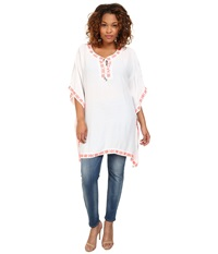 Vince Camuto Plus Plus Size Tropical Rain Front Lace Poncho W Embroidery Ultra White Women's Clothing