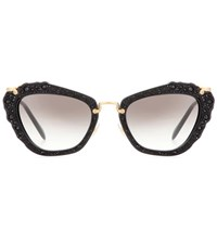 Miu Miu Embellished Cat Eye Sunglasses Black