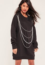 Missguided Black Chain And Pearl Detail Sweater Dress