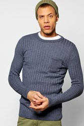 Boohoo Crew Neck Jumper With Patch Pocket Denim