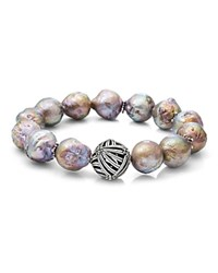 Stephen Dweck Champagne Baroque Natural Freshwater Pearl Stretch Bracelet Silver