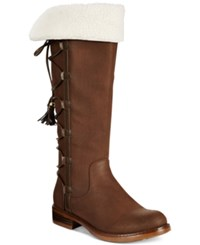 Xoxo Selby Faux Fur Lace Up Boots Women's Shoes Brown