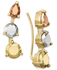 Kate Spade New York Tri Tone Metallic Stone Ear Climbers Multi