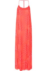 Alice Olivia Kelly Embroidered Cotton Blend Maxi Dress Orange