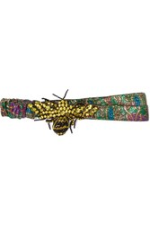 Gucci Embellished Metallic Jacquard Headband Green