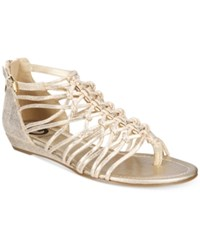 G By Guess Jonsie Strappy Flat Sandals Women's Shoes Gold