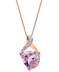 Macy's Pink Amethyst 3 Ct. T.W. And Diamond Accent Pendant Necklace In 14K Rose Gold