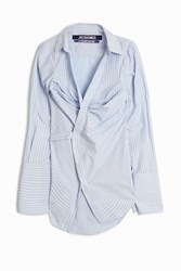 Jacquemus Stripe Wrap Shirt Dress Blue
