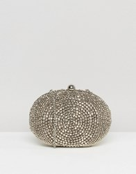 Chi Chi London Diamante Oval Clutch Bag Silver