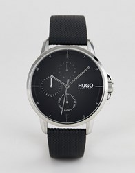 Hugo 1530022 Focus Black Dial Leather Strap Watch In Black