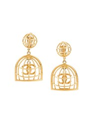 Chanel Vintage Cc Logo Birdcage Motif Clip On Earrings Metallic