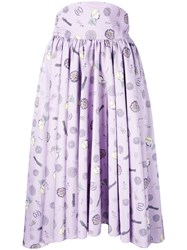 Olympia Le Tan Mid Length Printed Skirt Women Polyester 40 Pink Purple