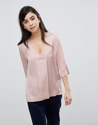 Soaked In Luxury Faux Wrap Blouse Pink