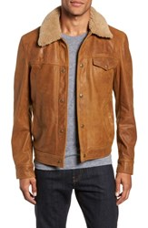 Schott Nyc Vintage Buffalo Leather Trucker Jacket With Genuine Sheepskin Collar Sycamore