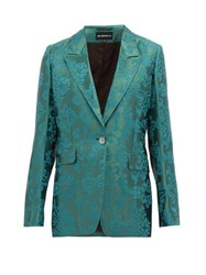 Ann Demeulemeester Daphne Single Breasted Floral Jacquard Blazer Green