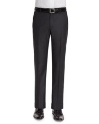 Neiman Marcus Classic Flat Front Wool Trousers Charcoal