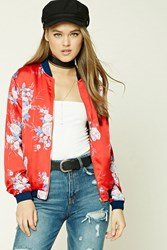 Forever 21 Floral Satin Bomber Jacket Red Blue