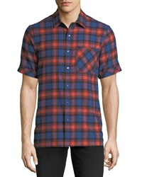 Ovadia And Sons Plaid Short Sleeve Camp Shirt Blue Pattern