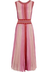 Missoni Reversible Metallic Stretch Knit Midi Dress Pink
