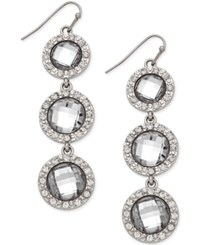 Inc International Concepts Silver Tone Triple Stone Pave Linear Fish Hook Earrings Only At Macy's