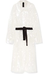 Norma Kamali Belted Sequined Tulle Trench Coat White Gbp