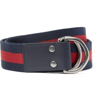 Gucci 4Cm Leather Trimmed Striped Webbing Belt Blue