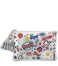 Anya Hindmarch All Over Stickers Georgiana Metallic Leather Clutch Silver