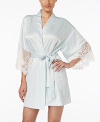 Flora By Flora Nikrooz Flora Nikrooz Lace Trimmed Charmeuse Robe Aqua
