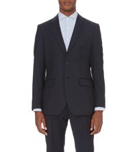 Reiss Point Modern Fit Checked Wool Jacket Navy