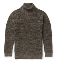 Etro Herringbone Wool And Mohair Blend Turtleneck Sweater Brown