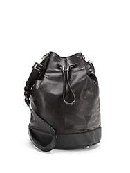 Mackage Leather Drawstring Bucket Bag Black