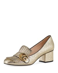 Gucci Marmont Metallic Loafer Pump Gold