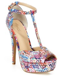 Thalia Sodi Flor Platform Dress Sandals Women's Shoes Pink Multi Rhinestone