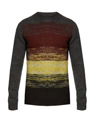 Bottega Veneta Degrade Striped Wool Knit Sweater Grey Multi