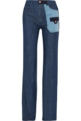 See By Chloe Patchwork High Rise Flared Jeans Mid Denim